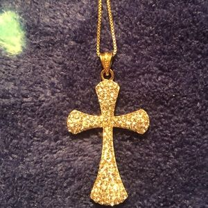 Gold over silver crystal reversible cross necklace